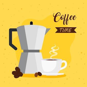 Bannière de l'heure du café avec pot moka et conception d'illustration en céramique tasse