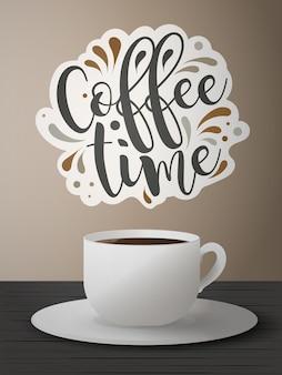 Bannière de l'heure du café. une tasse de café sur le dessus. belle police manuscrite. logo.