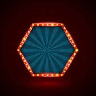 Bannière hexagonale de lumière rétro abstraite