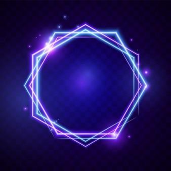 Bannière d'hexagone de lumière rougeoyante