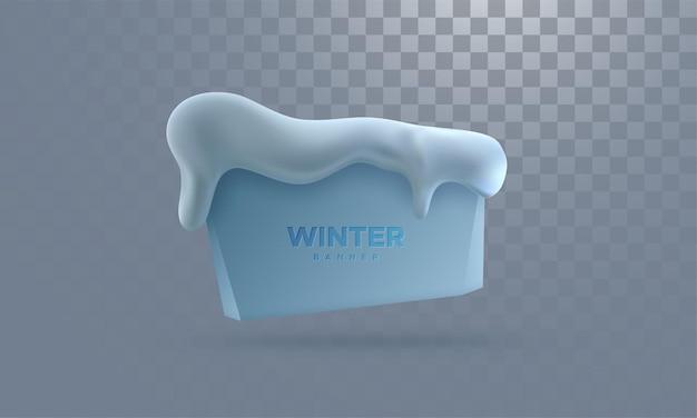 Bannière d'hiver avec bonnet de neige isolé sur fond transparent