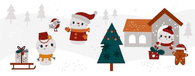 Bannière d'hiver avec dessin animé mignon bonhomme de neige oiseau arbre de noël pain d'épice carte-cadeau de noël vacances