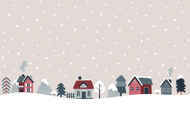 Bannière d'hiver illustration vectorielle avec des maisons confortables épinettes arbres montagnes vacances de noël