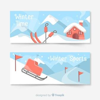Bannière hiver station de montagne