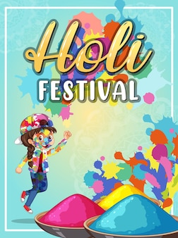 Bannière holi festival avec des personnages pour enfants
