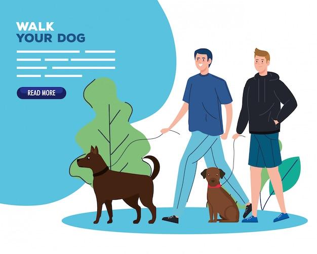 Bannière d'hommes marchant avec des chiens dans le paysage