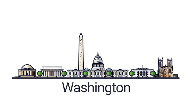 Bannière de l'horizon de washington dc dans un style branché de ligne plate. dessin au trait de la ville de washington. tous les bâtiments séparés et personnalisables.