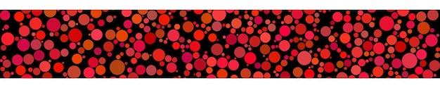 Bannière horizontale abstraite de cercles de différentes tailles dans des tons de rouge sur fond noir
