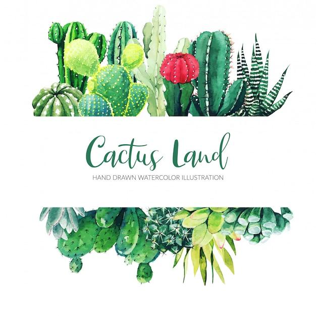 Bannière horizontale avec aquarelle cactus et plantes succulentes