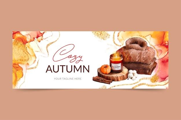 Bannière horizontale automne aquarelle