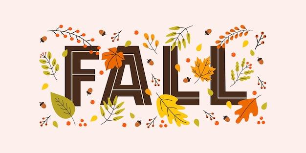 Bannière horizontale d'automne avec des glands de feuilles de saison et des lettres tombent sur fond pastel