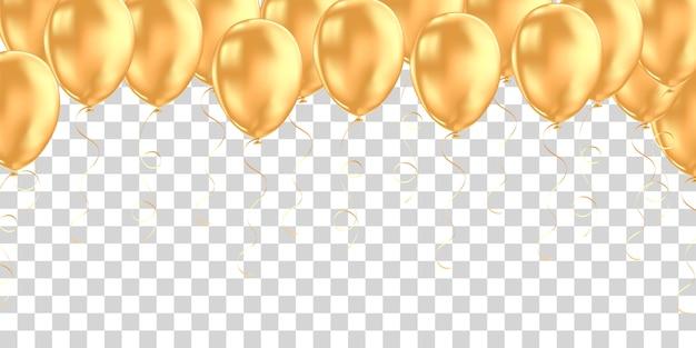 Bannière horizontale avec des ballons à l'hélium doré.