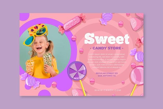 Bannière horizontale de bonbons avec enfant
