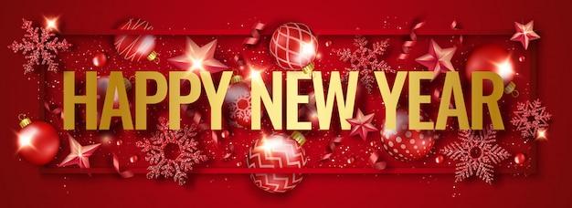 Bannière horizontale bonne année avec des flocons de neige brillants, rubans, étoiles et boules colorées