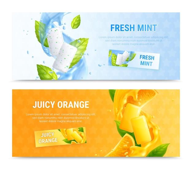 Bannière horizontale de bubble-gum sertie d'illustration de goûts menthe et orange