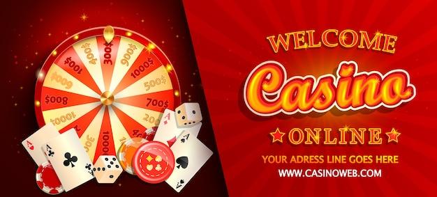 Bannière Horizontale De Casino En Ligne Bienvenue Vecteur Premium