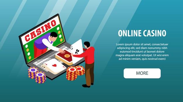 Bannière horizontale de casino en ligne isométrique