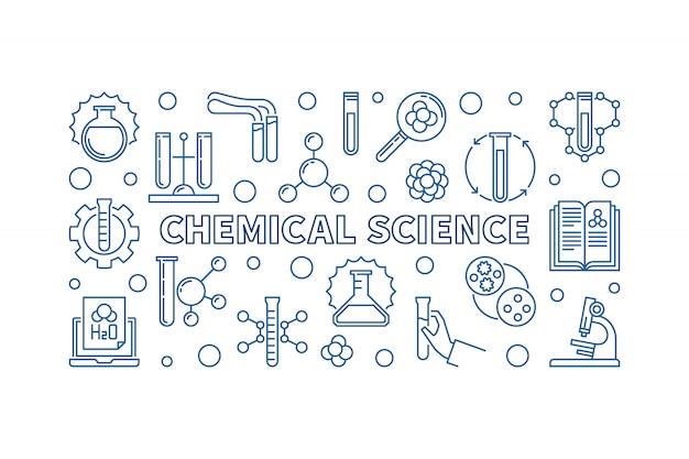 Bannière horizontale de chemical science minimal contour