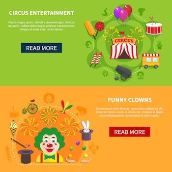Bannière horizontale de cirque et de clowns