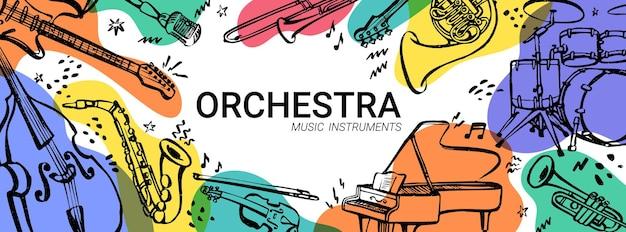 Bannière horizontale de concert d'orchestre