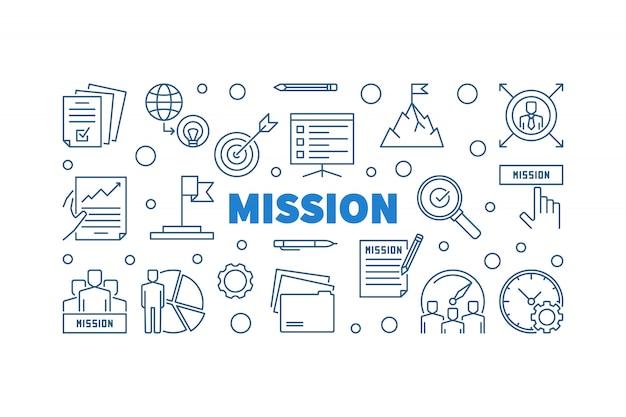 Bannière horizontale de contour bleu de contour de mission
