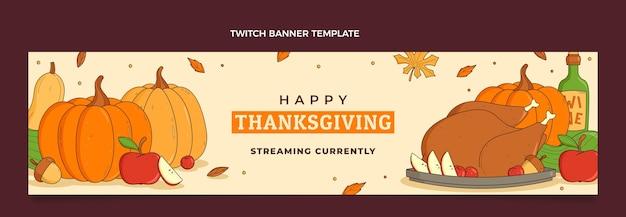 Bannière horizontale de contraction de thanksgiving dessiné à la main