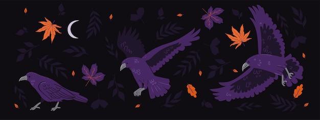 Bannière horizontale avec corbeaux et feuilles d'automne
