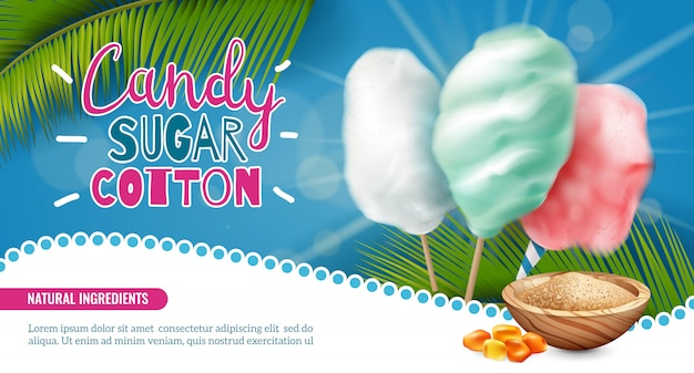 Bannière horizontale de coton sucre candy réaliste avec texte modifiable et images de bonbons de feuilles de palmier vector illustration