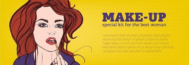 Bannière horizontale de couleur vive avec une femme appliquant du maquillage sur son visage dessiné à la main dans un style pop art et place pour le texte. illustration vectorielle pour la publicité sur les cosmétiques ou la promotion du service de maquilleur.