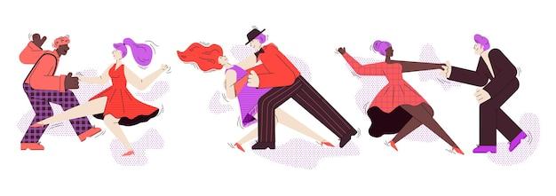 Bannière horizontale avec des couples de danseurs isolés