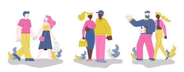 Bannière horizontale avec des couples marchent ensemble illustration plate