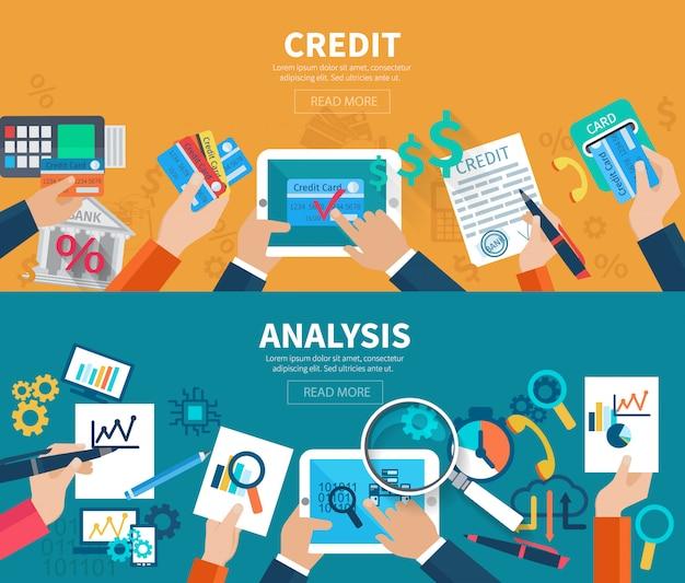 Bannière horizontale de crédit et d'analyse sertie de mains tenant des objets commerciaux