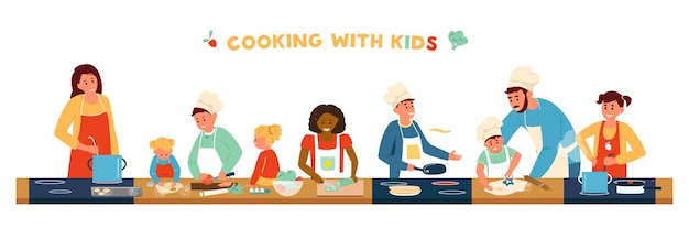 Bannière horizontale de cuisine avec enfants.
