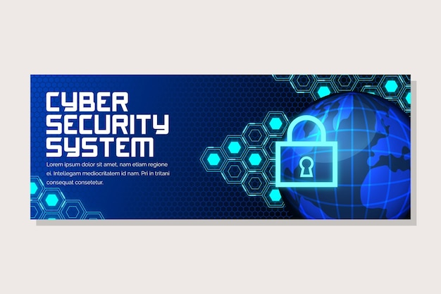 Bannière horizontale de cybersécurité