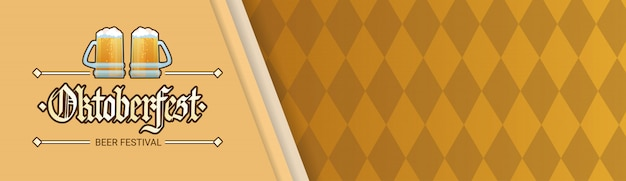 Bannière horizontale de décoration de vacances de festival de bière d'oktoberfest avec l'espace de copie