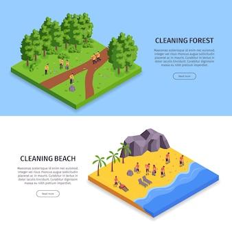 Bannière horizontale de deux ordures isométriques sertie de forêt de nettoyage et de titres de plage de nettoyage