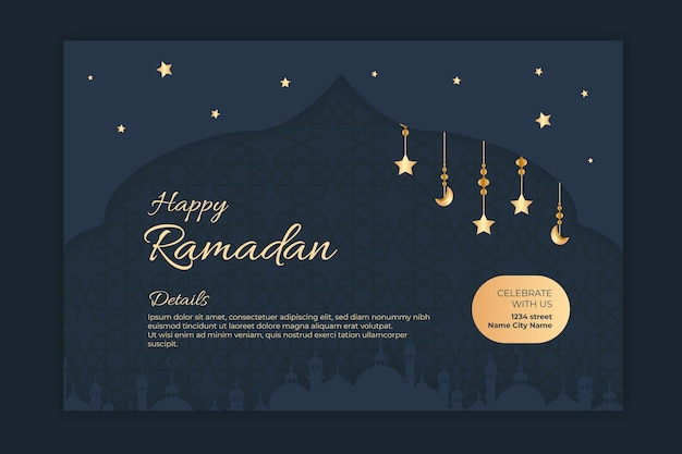 Bannière Horizontale Du Ramadan Vecteur gratuit