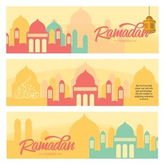 Bannière horizontale du ramadan