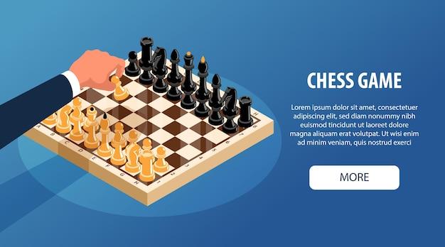 Bannière horizontale d'échecs isométrique