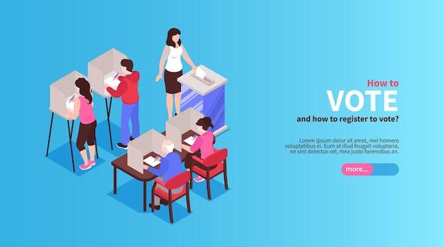 Bannière horizontale d'élection isométrique avec bouton de texte modifiable et caractères humains de personnes votantes avec des bulletins de vote
