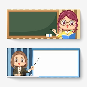Bannière horizontale d'enseignante avec tableau noir et journaliste rapportant des nouvelles en personnage de dessin animé, illustration plate isolée
