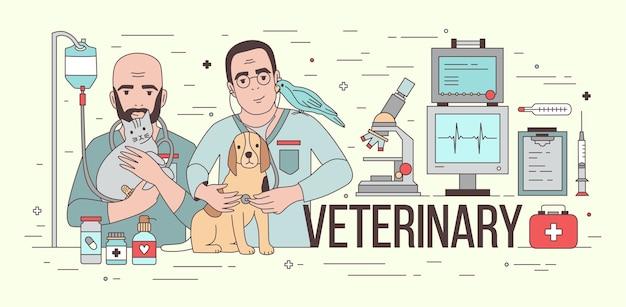 Bannière horizontale avec équipement médical et deux vétérinaires souriants tenant des animaux domestiques.