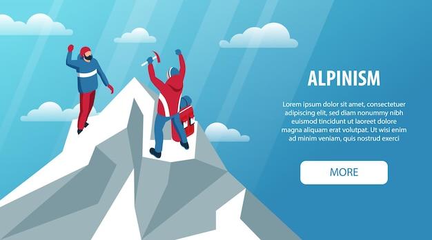 Bannière horizontale d'escalade isométrique avec texte modifiable plus de bouton et pic de glace de paysage extérieur et personnes illustration vectorielle