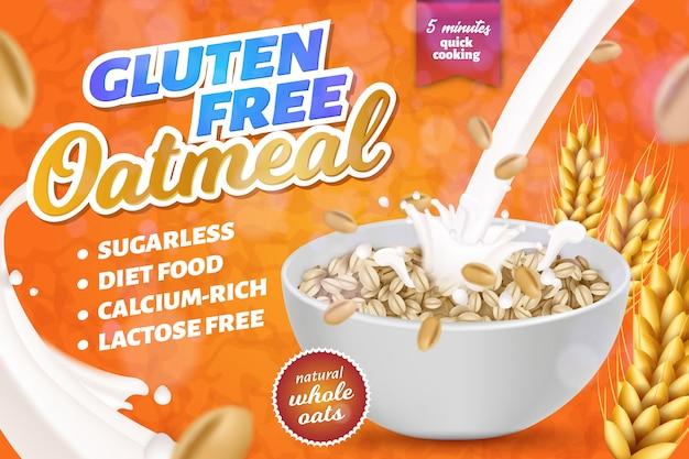 Bannière horizontale de farine d'avoine sans gluten, sans lactose