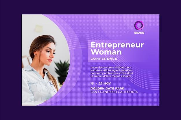 Bannière horizontale de femme d & # 39; affaires