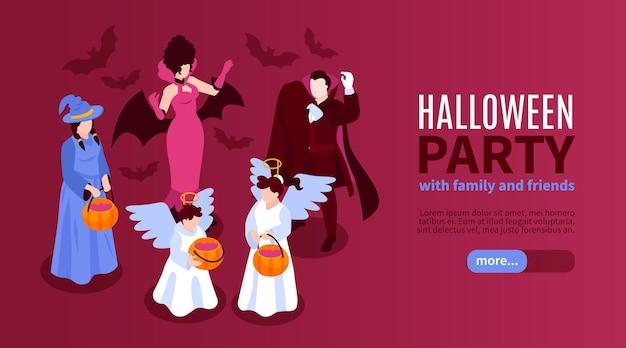 Bannière horizontale de fête d'halloween isométrique avec des personnages épiques avec des citrouilles et du texte modifiable