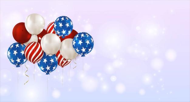 Bannière horizontale de la fête de l'indépendance américaine.ballons à rayures, étoiles. le 4 juillet. jour commémoratif des états-unis.liberty.