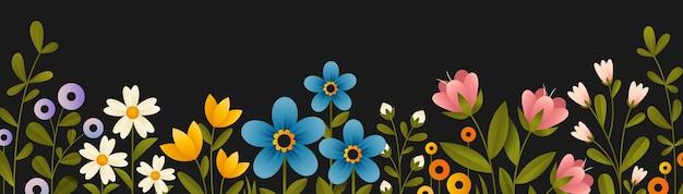 Bannière horizontale avec des fleurs fleuries multicolores et des branches de plantes.