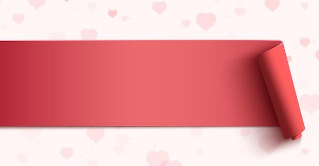 Bannière horizontale sur fond avec des coeurs roses.