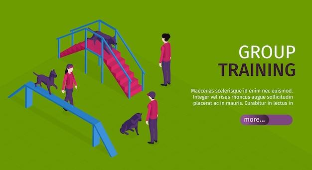 Bannière horizontale de formation de chien isométrique